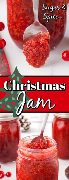 This Christmas Jam Recipe is perfect for the holidays with strawberries, cranberries, oranges and spices. It is also perfect for gift giving.