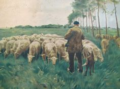 Anton Mauve Antique Lithograph- Spring- Shepherd, Sheep, Dog- Pastoral Scene- Wall Hanging Art