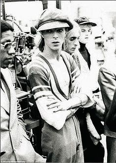 Bowie waiting for the Bullet Train during the 1973 tour of Japan