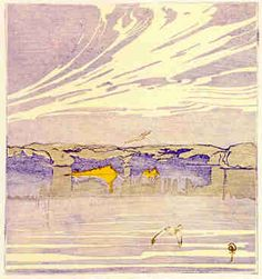 Walter J. Phillips (1884-1963) The Lake, 1918 colour woodcut on paper (first state; edition: 50) 13.3 x 12.4 cm