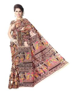 Kalamkari Hand Block Print Cotton Saree-Multicolored 1