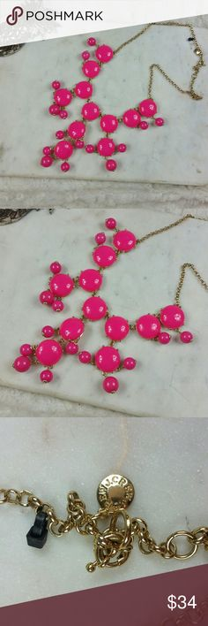 J.Crew Pink bubble Necklace Official J.Crew pink fusha bubble necklace. Flawless. See pictures for details J. Crew Jewelry Necklaces