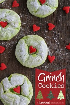 "RECIPES TO TRY: ""And what happened then–well, in Whoville they say That the Grinch's small heart grew three sizes that day."" Cake Mix Grinch Cookies with Hearts! How yummy do these look? Grinch Cookies, Holiday Cookies, Holiday Desserts, Holiday Baking, Holiday Treats, Holiday Recipes, Grinch Cake, Tree Cookies, Summer Cookies"