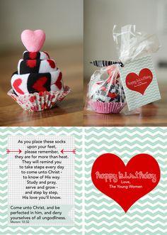 YW Birthday Gift: Socks w/ Come Unto Christ Poem
