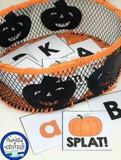 Pumpkin, Fall and Halloween themed letter recognition game for PreK and Kindergarten.