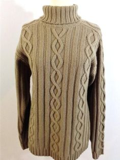 TIMBERLAND Men or Womens Tan 100% WOOL Cable Knit Fisherman Style Sweater SZ M