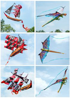 Multiple views of the 3D Pirate Ship Kite and 3D Dragon Kite.