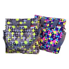 2 For One! Colorful Diaper Bags Messenger Style/ 4 - Piece Set