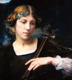 Edgard Maxence (French, 1871-1954) - Young girl playing a stringed instrument or Young Musician, 1911