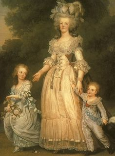 Marie Antoinette and two of her children.  I believe that things didn't work out well for the kids, either.....