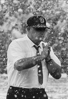 Legendary coach Woody Hayes shows his toughness to the weather at the Ohio State-Michigan State game on Saturday, November 4, 1967. The Buckeyes won that game in an upset 21-7 victory at East Lansing.