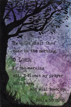 """Original Watercolor Painting - Psalm 5:3 """"My voice shalt thou hear in the morning, O Lord"""" KJV OOAK on Etsy, $40.00"""