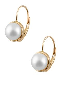 Splendid Pearls 14K Yellow Gold 7-7.5mm Freshwater Pearl Leverback Earrings