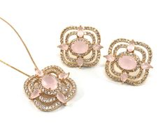 Rose Quartz with zirconias in 18k gold filled earrings and pendant necklace by EloisaBarreto on Etsy