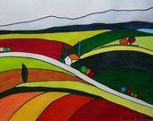 """peinture aquarelle paysage """" Douceur automnale et provinciale"""" exemplaire original unique : Peintures par danyrocherleroi"""