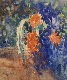 """Plinio Nomellini""""Fiore del deserto"""" acquerello su cartone cm.58x49 Plinio Nomellini è stato uno dei massimi esponenti della pittura macchiaiola e soprattutto divisionista, della quale diede una personale interpretazione sostituendo al puntinismo una pennellata filamentosa"""