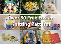 Over 50 Free Easter Knitting Patterns ⋆ Knitting Bee Easy Scarf Knitting Patterns, Dishcloth Knitting Patterns, Christmas Knitting Patterns, Free Knitting, Sweater Patterns, Stitch Patterns, Finger Puppet Patterns, Knitting Dolls Clothes, Easter Egg Designs