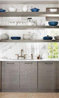 Modern Kitchen with Chantal Tea Kettles Classic in Enamel-on-Steel -1.8 Quart, Pottery Barn - Great White Dinnerware, Flush