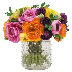 Add natural appeal to your decor with this faux ranunculus arrangement, showcasing colorful blossoms in a glass vase.  Product: ...