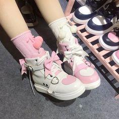 Harajuku Fashion, Kawaii Fashion, Lolita Fashion, Harajuku Style, Sock Shoes, Cute Shoes, Me Too Shoes, Kawaii Shoes, Kawaii Clothes
