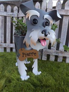 Personalized Schnauzer Dog Garden Planter by IngridsSecretGarden