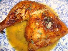 Pollo al horno, con naranjas y cerveza