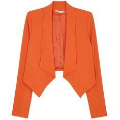 Womens Blazers Alice + Olivia Harvey Orange Crepe Blazer (625 CAD) ❤ liked on Polyvore featuring outerwear, jackets, blazers, blazer, giacche, crepe jacket, orange blazer jacket, alice olivia blazer, blazer jacket and orange jacket