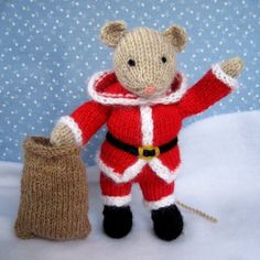 SANTA MOUSE knitted toy doll or festive ornament by dollytime