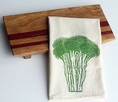 Natural Flour Sack Towel  Broccoli  Hand Screen by SproutedDesigns, $12.00