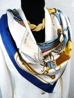 Authentic Vintage Hermes Silk Scarf Carrick a Pompe Philippe Ledoux 1953 Blues Very Rare