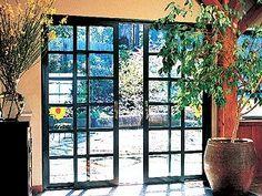 green French sliding doors smaller sliders work for smaller space Sliding French Doors, Glass French Doors, French Doors Patio, Patio Doors, Sliding Glass Door, Glass Doors, French Windows, Interior Barn Doors, Interior And Exterior