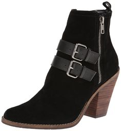 DV by Dolce Vita Women's Connery Boot, Black, 8 M US. Suede bootie with buckled smooth leather straps, bright metallic zipper, and stacked wood-grain heel. Full-length instep zipper.