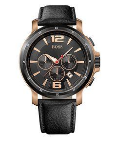 Hugo Boss Watch, Men's Chronograph Black Leather Strap 1512599