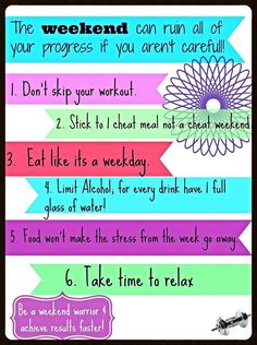 So many of us do great on our diets and workout routines during the week and then lose control on the weekends! Try and stick with it so you don't start over on Monday! #progress #motivated Follow me on Facebook for more workout tips, motivation, shakeology recipes, support and fitness fashion - https://www.facebook.com/pages/Fitting-in-Fitness/1467747026815942?fref=photo&ref=hl #fitting__in__fitness #fitmom #motivated #fitness #fit