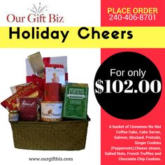 This is a nice selection of sweet and savory. Cinnamon No-Nut Coffee Cake, Cake Server, Salmon, Mustard, Pretzels, Ginger Cookies (Peppernuts),Cheese straws, Salted Nuts, French Truffles and Chocolate Chip Cookies.  Shop online: http://www.ourgiftbiz.com/gift-baskets/  or call 240-406-8701 to place order.  #christmas #gifts #events #giftideas #baskets #giftideas