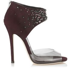 Mirto Suede with Crystals and Plexi Peep Toe Sandals   Lust