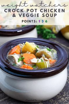 Weight Watchers Crock Pot Chicken Ww Recipes, Whole Food Recipes, Healthy Recipes, Vegetable Soup With Chicken, 21 Day Fix, Delicious Desserts, Crockpot, Meal Planning, Slow Cooker