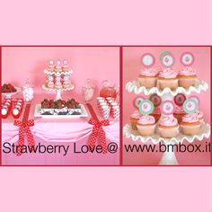 Strawberry Love @ www.bmbox.it #bitemebox #bmbox #follow #party #fun #pink #festa #compleanno #sweet #table #homedelivery #love #design #strawberry #cupcakes