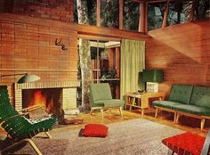 This green with the brick and the wood and the windows - that's how to do vintage lodge.