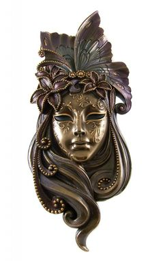 art nevoue mask | Art-Nouveau-Bronzed-Venetian-BUTTERFLY-LADY-Wall-Opera-Mask-Home-Decor ...