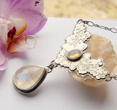 Etched Vintage Style Opal Silver Butterfly Necklace by EONDesignJewelry