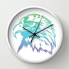 Gradient Hawk Wall Clock by Jenna Blake Available for purchase at: www.society6.com/hoot