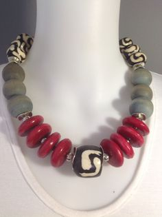 African tribal chunky choker: batik bone, red wooden discs and Matt grey wooden beads - Michela Rae