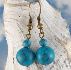 Stillness Earrings  turquoise howlite stone  by MySoulCanDance, $4.00