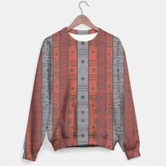 Stripes and dots Sweater #pattern, #gray, #terracotta, #brick, #sepia, #orange, #stripes, #dots, #handdrawn, #earthshades, #tribal, #pastel, #abstract, #texture, #striped, #earthtones, #grey, #natural, #ochre, #stripes, #earth, #clay, #softpastels, #pastels, #70s, #textile, #colors, #colours, #shades, #sweater