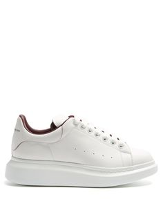 ALEXANDER MCQUEEN Raised-Sole Low-Top Leather Trainers. #alexandermcqueen #shoes #sneakers