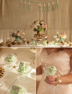 an ice cream bar with the bride and groom's favorite flavors - fun idea