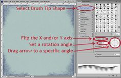 Digital Scrapbooking Brush Tutorial: How to rotate a brush in Photoshop.