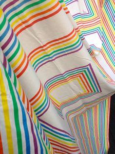 70's Vera Neumann by Burlington Geometric Rainbow Squares & Stripes Flat Sheet - Full Size on Etsy, $25.00