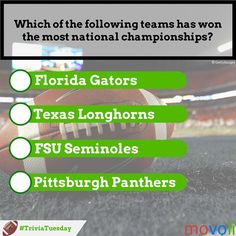 Let's play #TriviaTuesday! Which of these #NCAAF teams has won the most national championships?